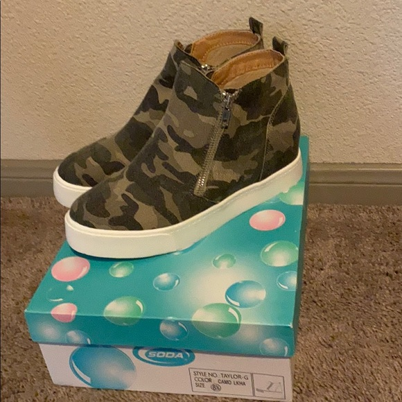 Camo Sneakers with Wedge